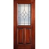 Hamilton 1/2 Lite Mahogany Wood Door Slab #7194