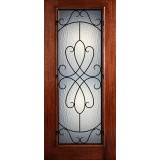 Hamilton Full Lite Grille Mahogany Wood Door Slab #7442