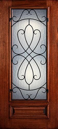 Hamilton 3/4 Lite Grille Mahogany Wood Door Slab #7454