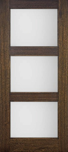 Modern 3-Lite Mahogany Wood Door Slab