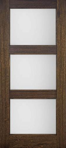 Modern 3 Lite Mahogany Wood Door Slab