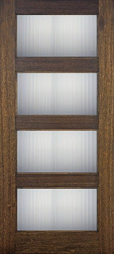 Modern 4-Lite Mahogany Wood Door Slab