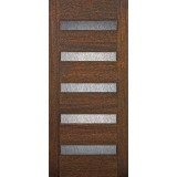 Modern 5-Lite Mahogany Wood Door Slab