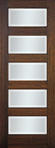 "8'0"" Tall Modern 5-Lite Mahogany Wood Door Slab"