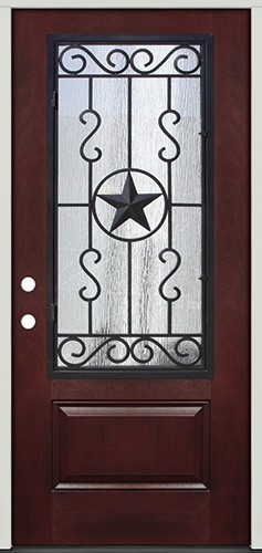 Pre-finished Mahogany Fiberglass Prehung Door Unit with Star Iron Grille #75