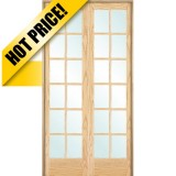 "#9304 8'0"" Tall 12-Lite Oak Interior Prehung Double Wood Door Unit"