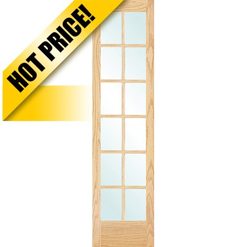 "#9304 8'0"" Tall 12-Lite Oak Interior Wood Door Slab"