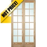 "#9301 8'0"" Tall 12-Lite Pine Interior Prehung Double Wood Door Unit"
