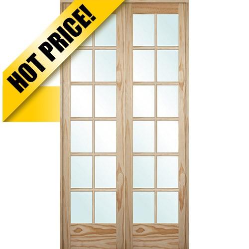 9301 8 0 Tall 12 Lite Pine Interior Prehung Double Wood Door Unit