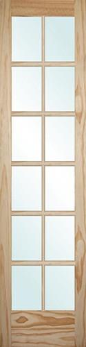 "8'0"" Tall 12-Lite Pine Interior Wood Door Slab"