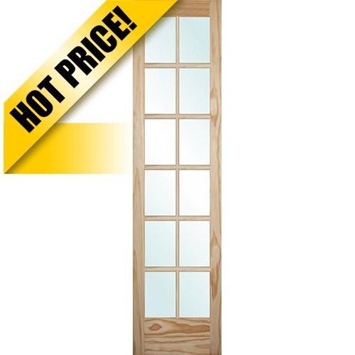 "#9301 8'0"" Tall 12-Lite Pine Interior Wood Door Slab"