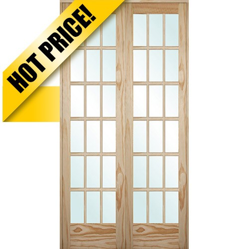 Cheap 9303 8 39 0 tall 18 lite pine interior prehung double for Cheap interior french doors