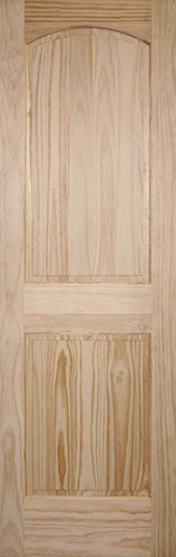 "8'0"" Tall 2-Panel Arch Pine Interior Wood Door Slab"