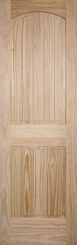 "8'0"" Tall 2-Panel Arch V-Groove Pine Interior Wood Door Slab"