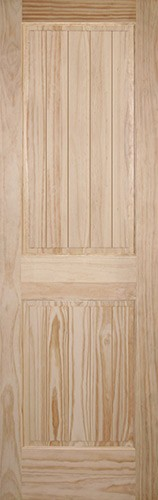 "8'0"" Tall 2-Panel V-Groove Pine Interior Wood Door Slab"