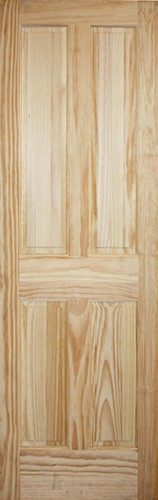 "8'0"" Tall 4-Panel Pine Interior Wood Door Slab"