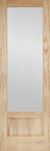 "8'0"" Tall Frosted Glass Pine Interior Wood Door Slab"