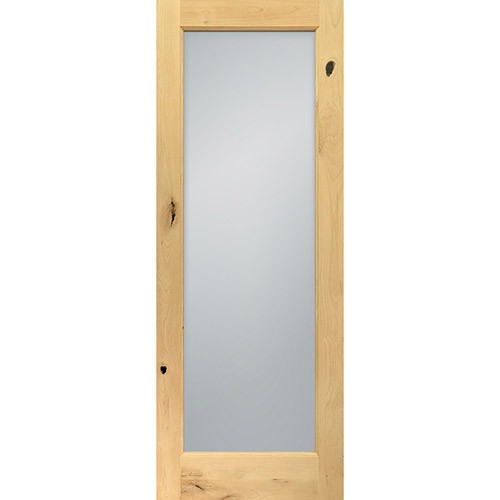 "6'8"" Tall Frosted Glass Knotty Alder Interior Wood Door"