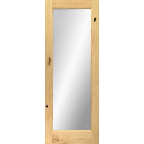 "6'8"" Tall Mirror Glass Knotty Alder Interior Wood Door"