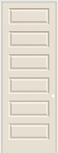 "8'0"" 6-Panel Modern Smooth Molded Interior Prehung Door Unit"
