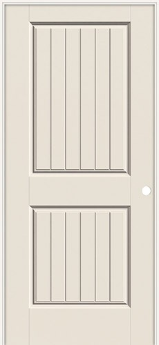 "6'8"" 2-Panel V-Groove Smooth Molded Interior Prehung Door Unit"