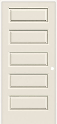 "6'8"" Modern 5-Panel Smooth Molded Interior Prehung Door Unit"