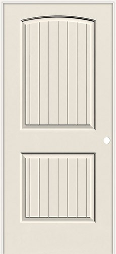 """6'8"""" 2-Panel Arch V-Groove Smooth Molded Interior Prehung Door Unit"""