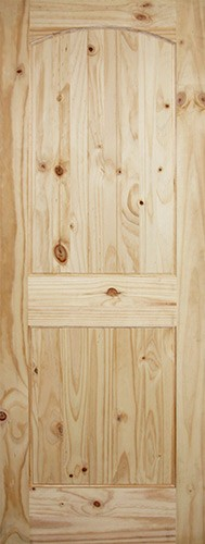 "6'8"" Tall 2-Panel Arch V-Groove Knotty Pine Interior Wood Door Slab"
