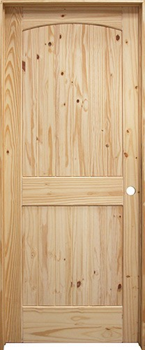 """6'8"""" Tall 2-Panel Arch V-Groove Knotty Pine Interior Prehung Wood Door Unit"""
