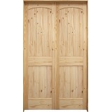 """6'8"""" Tall 2-Panel Arch V-Groove Knotty Pine Interior Prehung Double Wood Door Unit"""