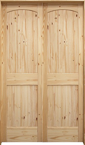 "4'0"": 6'8"" Tall 2-Panel Arch V-Groove Knotty Pine Interior Prehung Double Wood Door Unit"