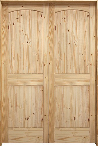 "5'0"": 6'8"" Tall 2-Panel Arch V-Groove Knotty Pine Interior Prehung Double Wood Door Unit"