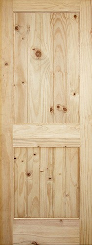 "6'8"" Tall 2-Panel V-Groove Knotty Pine Interior Wood Door Slab"