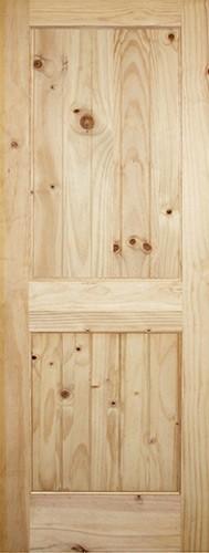 "6'8"" Tall 2-Panel V-Groove Knotty Pine Interior Wood Door Slab"