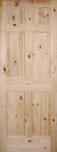 "6'8"" Tall 6-Panel Knotty Pine Interior Wood Door Slab"