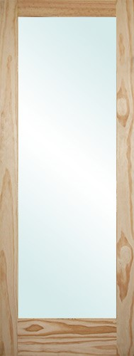 "6'8"" Tall Full Lite Pine Interior Wood Door Slab"