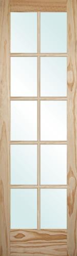 "6'8"" Tall 10-Lite Pine Interior Wood Door Slab"