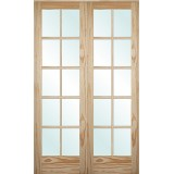 "4'0"": 6'8"" Tall 10-Lite Pine Interior Prehung Double Wood Door Unit"