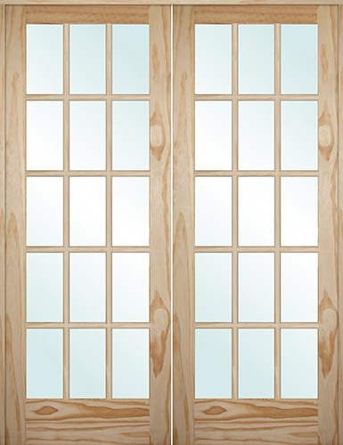 "5'0"": 6'8"" Tall 15-Lite Pine Interior Prehung Double Wood Door Unit"