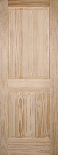 "6'8"" Tall 2-Panel Pine Interior Wood Door Slab"