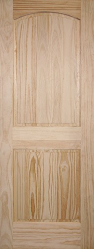"6'8"" Tall 2-Panel Arch Pine Interior Wood Door Slab"