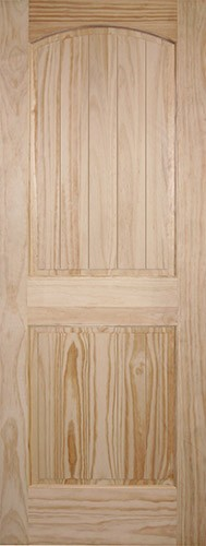 "6'8"" Tall 2-Panel Arch V-Groove Pine Interior Wood Door Slab"