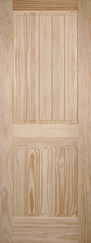 "6'8"" Tall 2-Panel V-Groove Pine Interior Wood Door Slab"