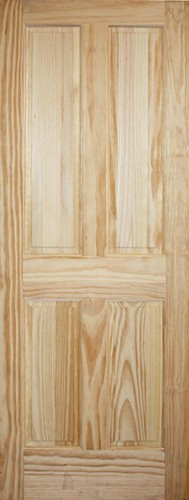 "6'8"" Tall 4-Panel Pine Interior Wood Door Slab"