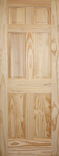 "6'8"" Tall 6-Panel Pine Interior Wood Door Slab"