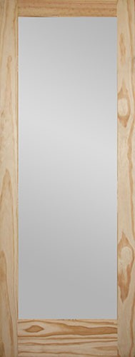 """6'8"""" Tall Frosted Glass Pine Interior Wood Door Slab"""