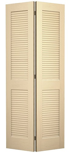 """6'8"""" Tall Traditional Louver Louver Pine Interior Wood Bifold Doors"""