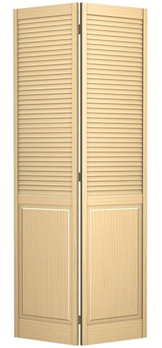"""6'8"""" Tall Traditional Louver Panel Pine Interior Wood Bifold Doors"""