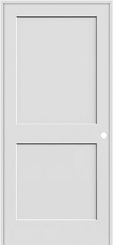 """6'8"""" Tall 2-Panel Shaker Primed Interior Prehung Wood Door Unit"""