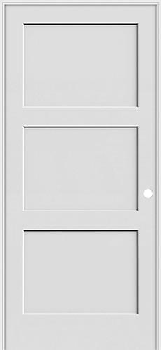 """6'8"""" Tall 3-Panel Shaker Primed Interior Prehung Wood Door Unit"""